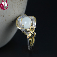 Moonstone Ring 925 Sterling Silver Jewelry For Women Mom Mother's Gift Luxury Big Large Size 7 12 Natural Flowers YR69