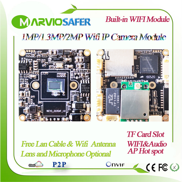 H.265 1080P 2MP HD 무선 보안 IP 네트워크 카메라 모듈 보드 Wifi 오디오 Onvif TF 카드 슬롯 최대 지원 64GB 720P / 960P