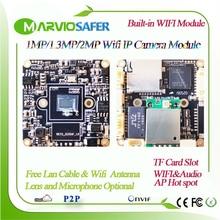 H.265 1080P 2MP HD bezprzewodowa kamera sieciowa IP płyta modułu dźwięk Wifi Onvif gniazdo karty TF Max wsparcie 64GB 720P / 960P