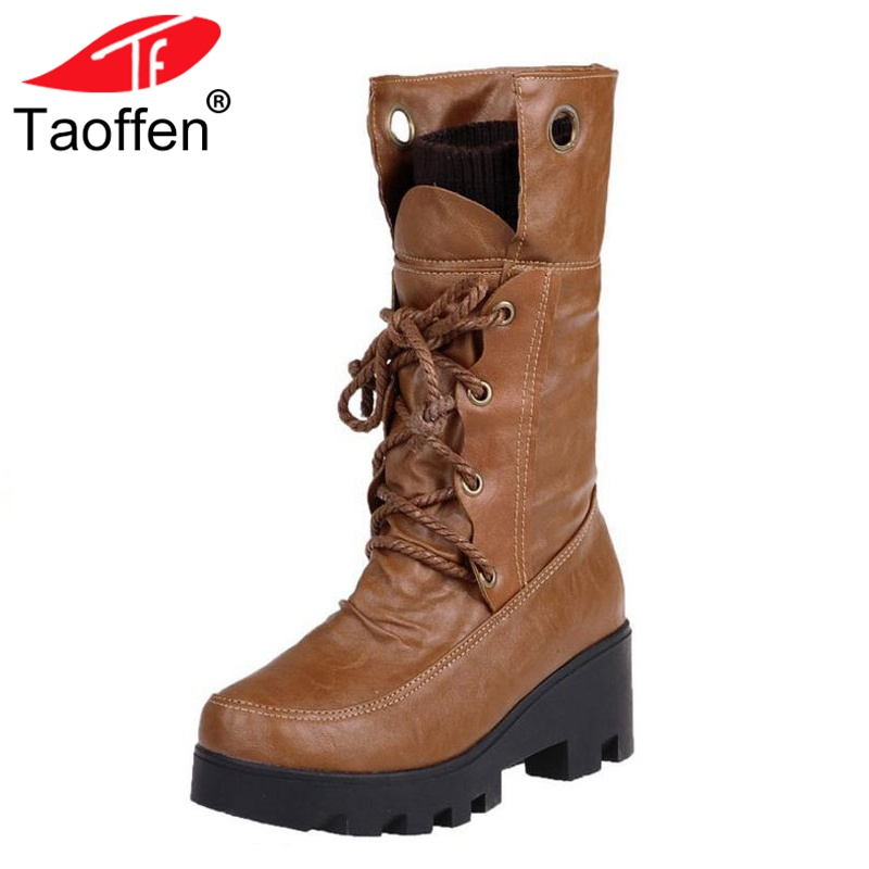 Taoffen Size 34-43 Woman Boots Fur Thick Sole Fur Winter Woman Shoes Lace Up Fashion Warm Mid Calf Boots Ladies Footwear taoffen size 30 52 russia women round toe height increasing mid calf boots woman cross strap warm fur winter half shoes footwear