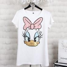 Plus size 4XL Women  Summer Short Sleeve Sequins Cartoon  Print T shirts Fashion Loose White Top Tees Women Designer Clothing