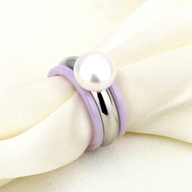 Fashion 3pcs/Set Purple Ceramic With Big Pearl Stainless Steel Rings Set Elegant Gift For Women Girls Wedding Ring Jewelry