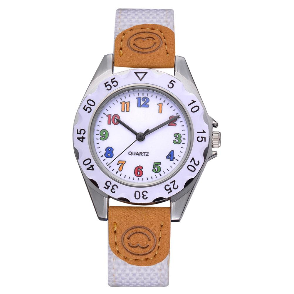 2018 Cute Boys Girls Quartz Watch Kids Children's Fabric Strap Student Time Clock Wristwatch Gifts Colorful Number Dial Clock