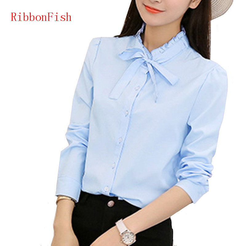 Summer Women Office Work OL Wear Chiffon   Blouses     Shirt   Lady Girsl Long Sleeve Bow Tie Decor O-Neck Blusas   Shirts   DF1172