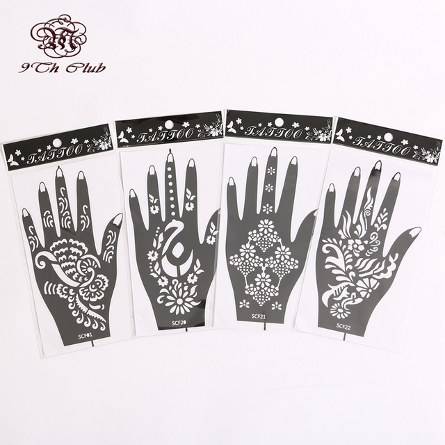4 Paar (8 stücke) Mehndi Henna Tattoo Schablone Vorlagen, Blume ...