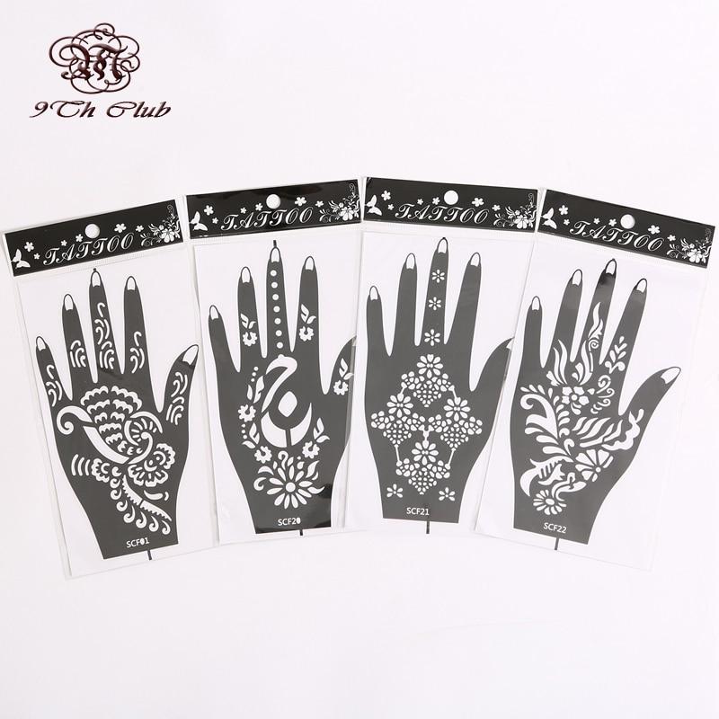 4Pair (8pcs) Mehndi Henna Templat Stensil Tattoo, Bunga Glitter Airbrush Tangan Henna Stensil Tatu Untuk Cat Badan 20 # 21 # 22 # 1 #