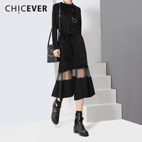 CHICEVER Winter Velvet Patchwork Mesh Women Dress Black Long Sleeve Slim Party Dresses Female Clothes Fashion