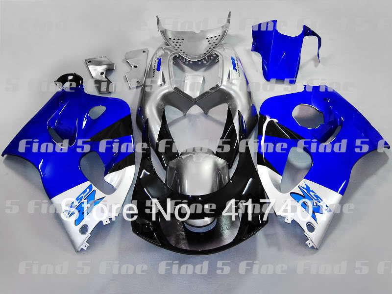 Argent bleu noir pour GSXR 600 750 96-00 GSX R600 GSXR600 GSXR750 GSX-R600 96 97 98 99 00 1996 1997 1998 1999 2000 carénage kit