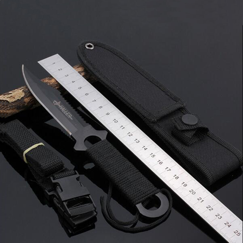 Paratroopers Knife Stainless Steel Diving Straight Knife Outdoor Survival Camping Pocket Knife Tactical Knife