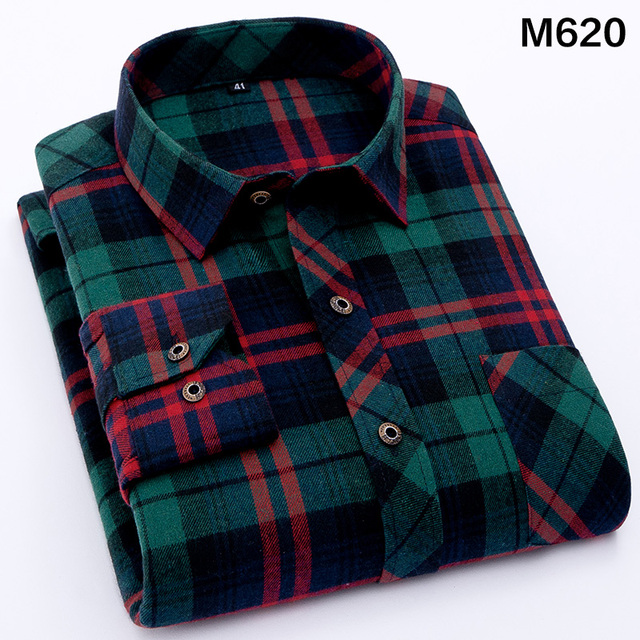 EYM Brand Flannel Plaid Shirt Men Cotton 2018 Autumn New Male Casual Long Sleeve Shirt Plus size High Quality Warm Man Clothes 2