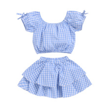 Summer Girl Clothes Plaid Sets Baby Twins Costume Off The Shoulder Blue Valentines Fashion Suit For Girls