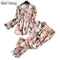 BabYoung Spring And Summer New Pajamas Woman Pyjamas Sweet Silk Homewear Long Sleeve Trousers Two Piece Suit Pijama Feminino