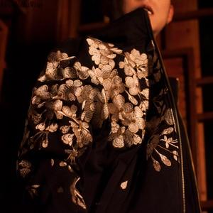 Image 4 - AreMoMuWha jesienią i zimą japoński ciężki haft męska bluza z kapturem Cherry Suzaku haft Harajuku czarny HoodieQX1096