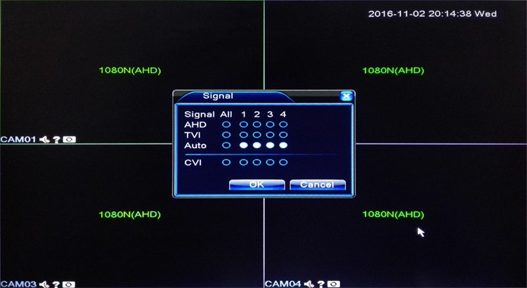 4ch 4 channel four in one tvi cvi ahd dvr main menu picture 02