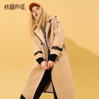 ELF SACK WInter Korean Style Woman Coat Long Sleeve Loose Casual Faux Fur Femme Jackets Wide waisted Double Breasted Jackets
