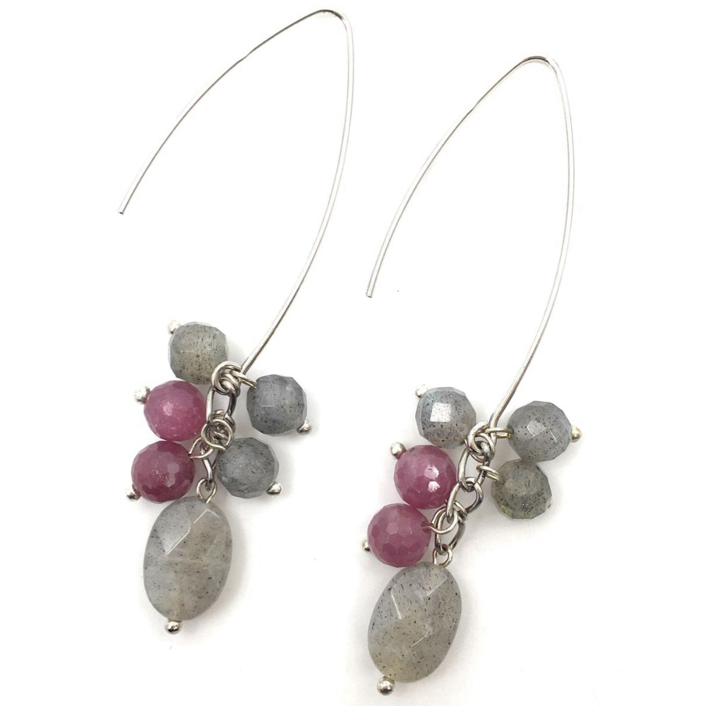 Lii Ji Natural Labradorite Mozambique Ruby Drop shape 925 Sterling Silver Dangle Earrings цена