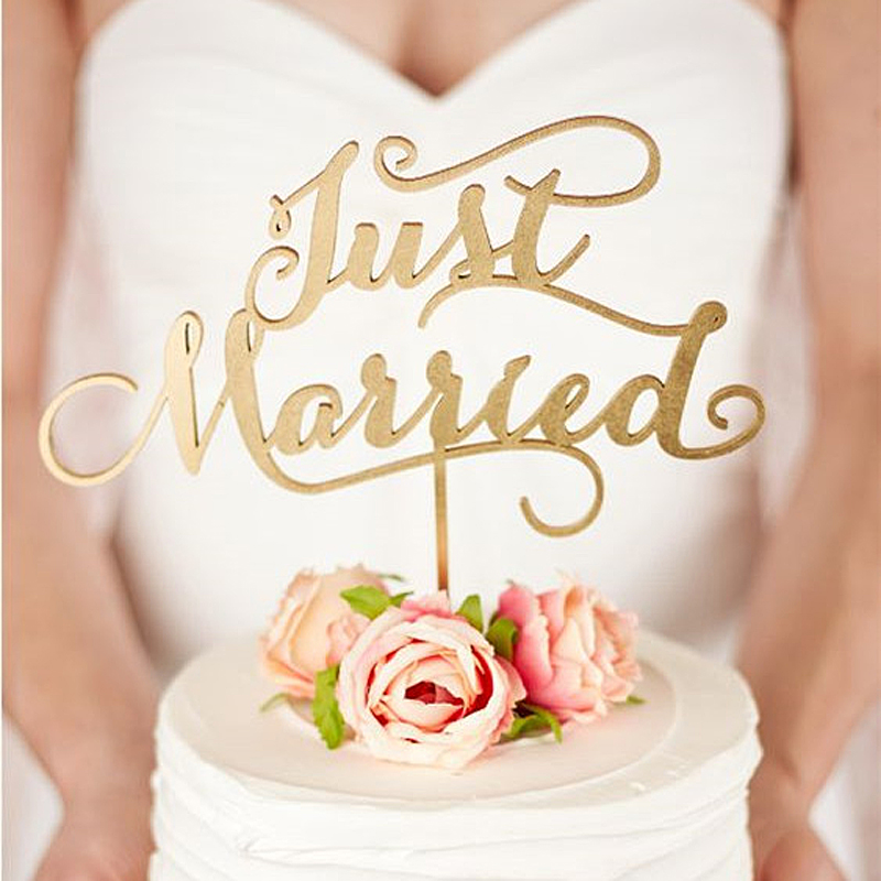 just married rustic wedding cake topper engagement wooden cake topper wood letters cake