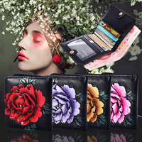 HJKL 2018 Luxury Ladies Purse Top Leather Wallet Women Cowhide Peony Purse Small Clutch Female All Matched Wallets Card Holder