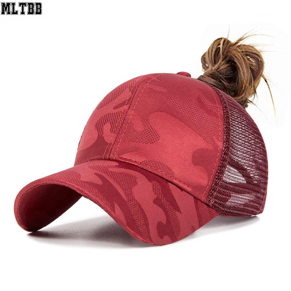 2019 Camouflage Ponytail Mesh Gilrs Baseball Cap Bun Baseball Hat Sport Caps