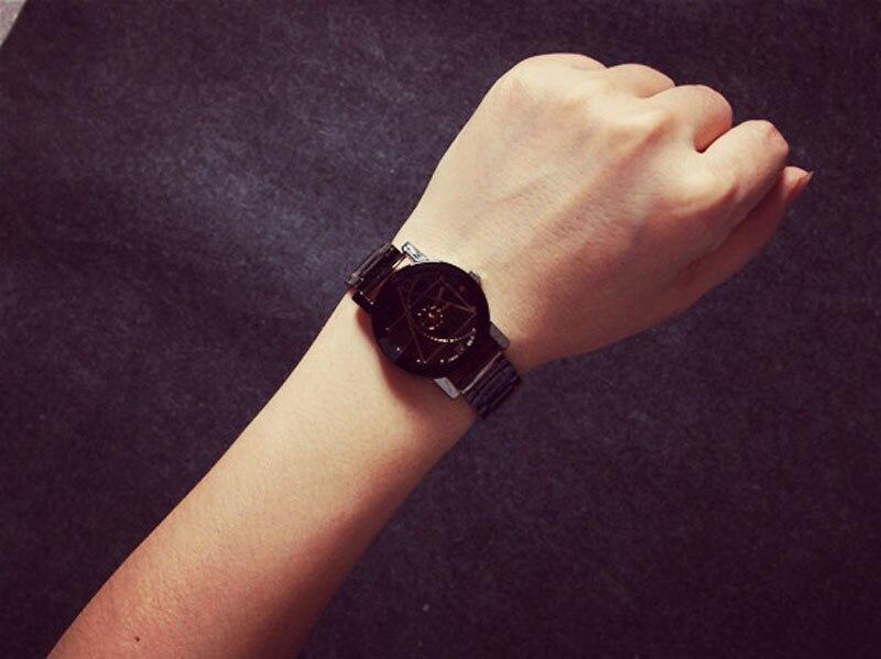 Роскошные оригинальные брендовые парные часы, мужские часы, женские модные парные часы из нержавеющей стали, часы reloj hombre reloj mujer montre - Цвет: women black
