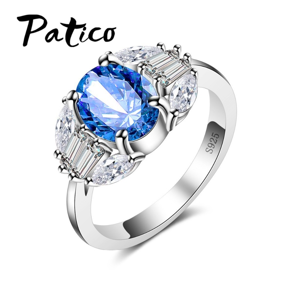 PATICO Trendy Oval Blue Crystal Love Heart Design Clear CZ Ring 925 sterling-silver-jewelry for Women Engagement