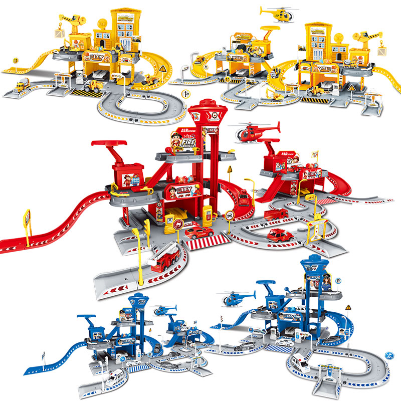 3D City Police Station Railway Alloy Car Play Engineering Fire Truck Track Car DIY Model Building Kits Assembly Kids Toys