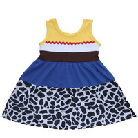 Girls Jesse Summer Dress Princess Blue Donald Duck Dress Moana Belle Mermaid Minnie Mickey Party Cosply