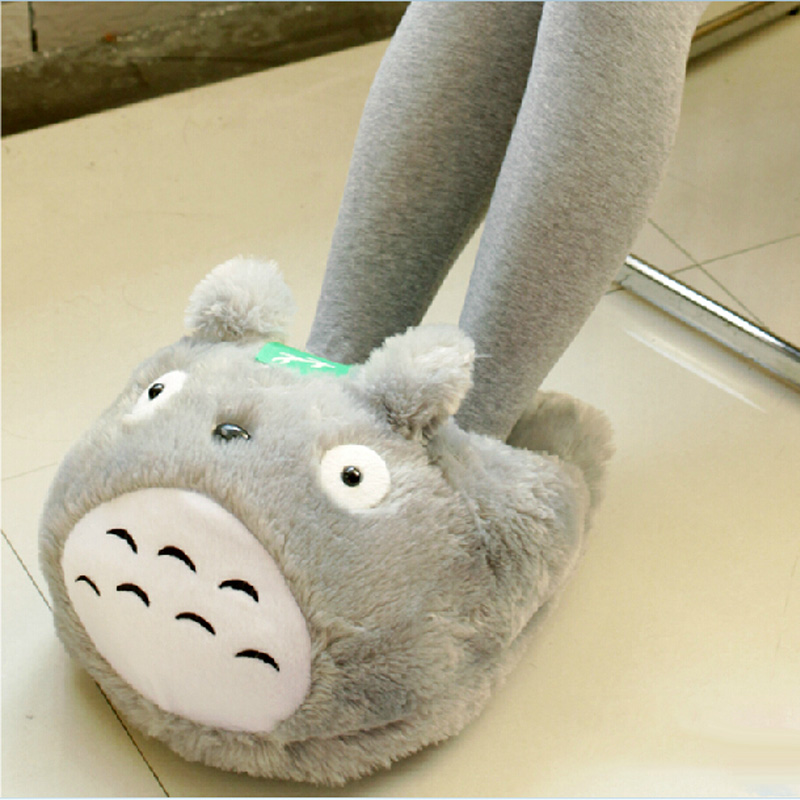 65e426d81 40   27 cm Office warm fur slippers for women woek cute women warm totoro  slippers funny hello kitty animal slippers for ladies