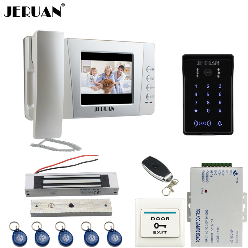 JERUAN Home 4.3`` LCD Video Door Phone intercom System Kit 700TVL RFID Waterproof password keyboard IR Night vision Camera programmable usb emulator rs232 interface 15keys numeric keyboard password pin pad yd531 with lcd support epos system