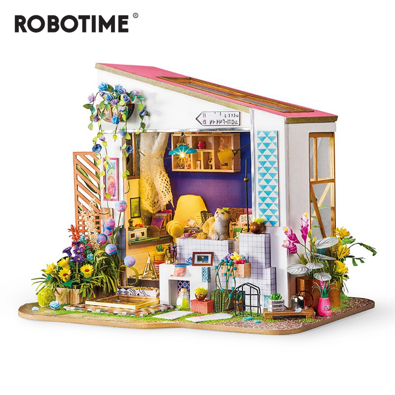 Robotime New DIY Lily s Porch with Furniture Children Adult Miniature Wooden Doll House Model Building