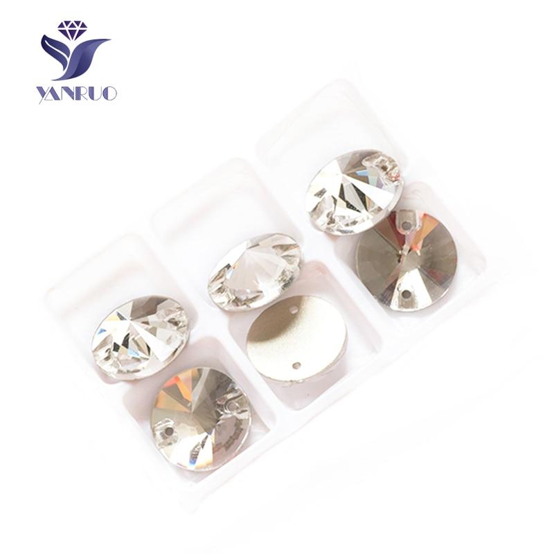 YANRUO 3200 Redondo 8 10 12 14 16 18 mm Coser Cristal de Cristal Piedras de Rivoil Piedras para Coser Rhinestone joyería Craft