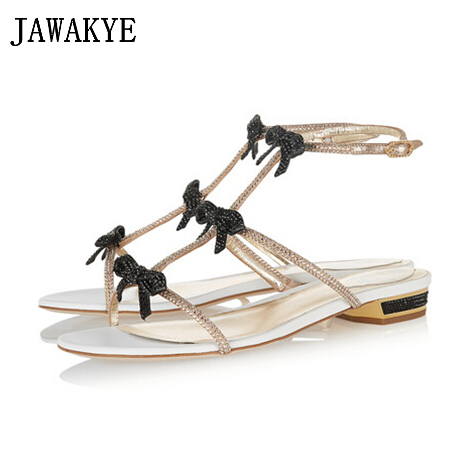 JAWAKYE Sweet ladies Sandals Crystal Bowknot Flat Heel women sandal three Buckle Strap fashion Summer Shoes sandalias mujer 2018 sweet girl s sandals with bowknot and velcro design