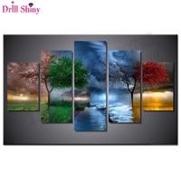 5d Diy Diamond Painting Four Seasons Trees Cross Stitch Square Diamonds Full 3d Diamond Embroidery 5pcs