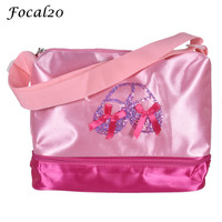 Focal20 Ballet Shoes Sequins Embroidery Bowknot Duffle HandBag Girls Women Messenger Bag Zipper Square Pink Shoulder