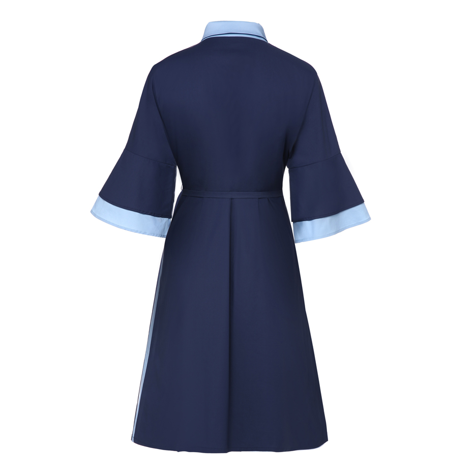 chiffon dress women 3/4 Sleeve turn-down collar casual dress plus size sash partchwork loose office 2018 summer dress hot sale