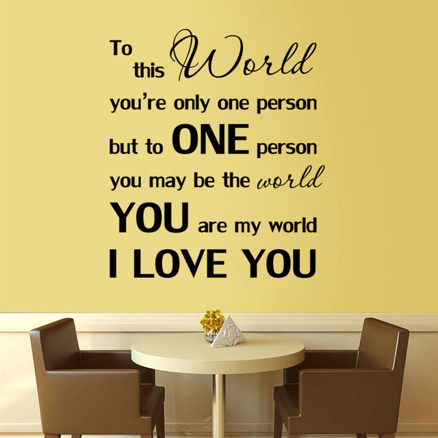 You Are My World\' Quote Wall Sticker Romantic Love Wall Art Decals ...