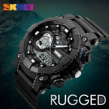 SKMEI Men Sports Watches Digital Quartz Watch LED Big Dial 50M Waterproof Dual Display Wristwatches Relogio Masculino 1228