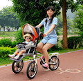 Materna e infantil coche filial madre y niño coche doble triciclo plegable del cochecito