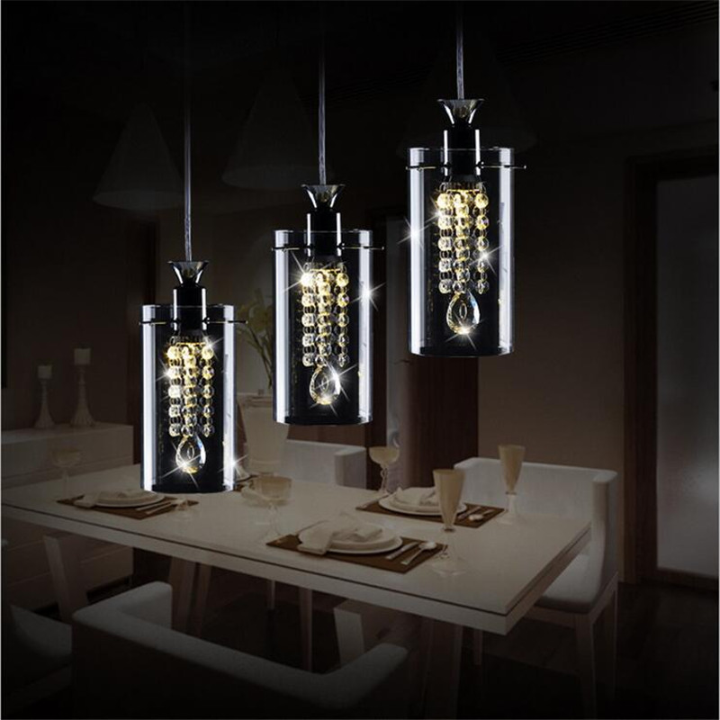 Modern Creative Luxurious Fashion K9 Crystal Glass Led 5w*1/3 Heads Pendant Light For Dining Room Living Room Ac 80-265v 1358 modern fashion luxurious rectangle k9 crystal led e14 e12 6 heads pendant light for living room dining room bar deco 2239