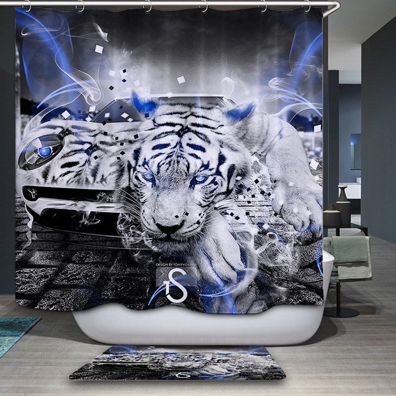 New Arrivals Shower Curtain Nordic Nature Scenic Jungle Beast Pattern Shower Curtain Waterproof Bathroom Fabric Home decor