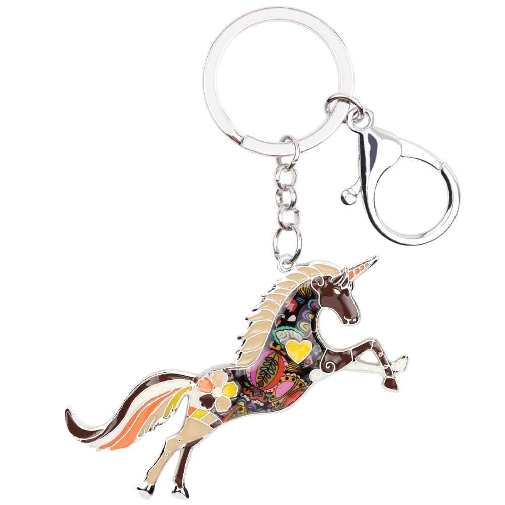 Bonsny المينا سبيكة الحصان يونيكورن يد حقيبة سحر مفتاح سلسلة مفتاح حلقة المفاتيح اكسسوارات الموضة الحيوان مجوهرات للنساء