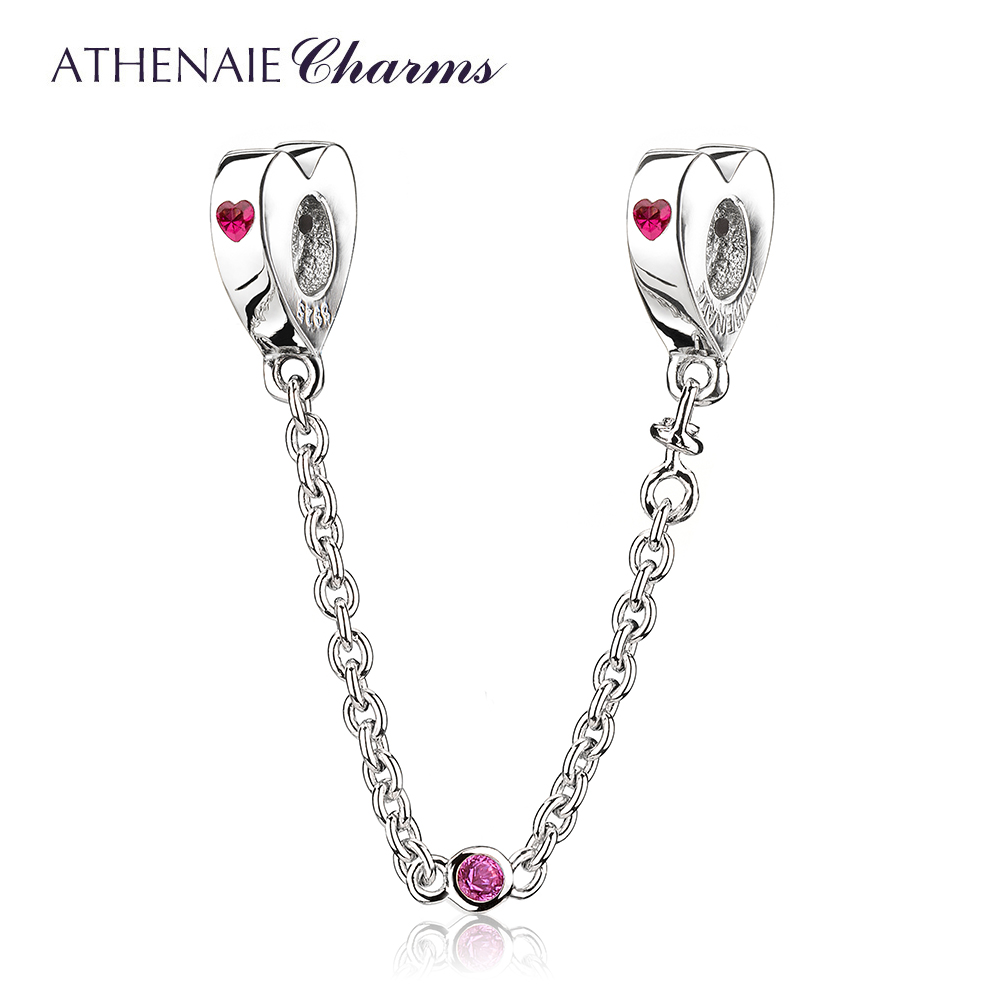 ATHENAIE 100% 925 Sterling Silver Rose Heart CZ Love You Safety Chain Beads For Women Fit Bracelet & Bangle DIY Jewelry 925 sterling silver friendship forever heart pink cz safety chain women charm bracelet sterling silver jewelry psb014