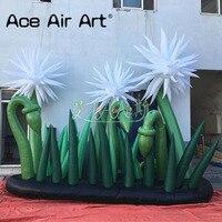 Горячая продажа Красивый Надувной белый цветок и зеленый украшение в виде листьев с воздуходувкой для события