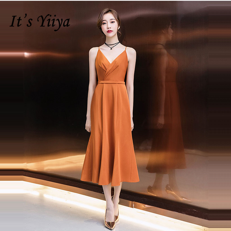 It's Yiiya Prom Dresses 2018 Sleeveless Spaghetti Strap V-Neck Zipper Prom Gowns Party Dresses Formal Dresses LX960