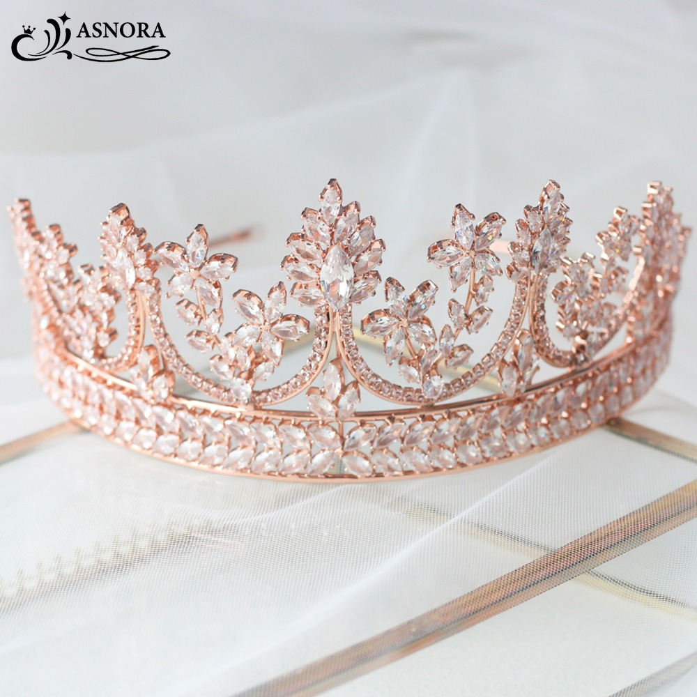 ASNORA Fashionable Tiaras for Brides Bridal Crowns Wedding Tiaras Rose Gold Wedding Hair Jewelry Zircon Crystals Tiara 2019-in Hair Jewelry from Jewelry & Accessories    1