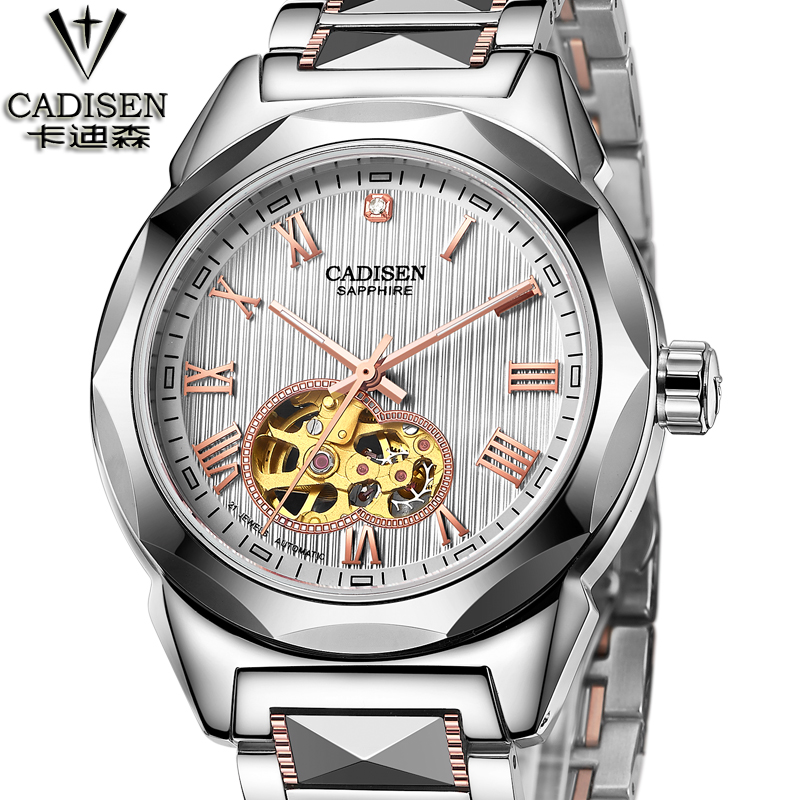 CADISEN New all Tungsten steel Watch Mens Watches Top Brand Luxury Montre Homme Clock Men Automatic Skeleton Watch cadisen top new mens watches top brand luxury complete calendar 3atm sport watches for men clock stainless steel horloges mannen