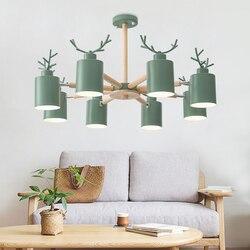 Nordic styl żyrandol do salonu sypialni E27 kreatywny macaron żelaza poroża światła kryty luminaria lustre QIANXIA5056