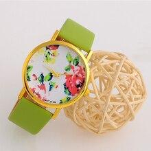Boy's Girl's Rose Dial  Flower Print Jelly Sports Wztch Leather Band Quartz Wrist Watch Vintage Sport Clock Watch Relogio