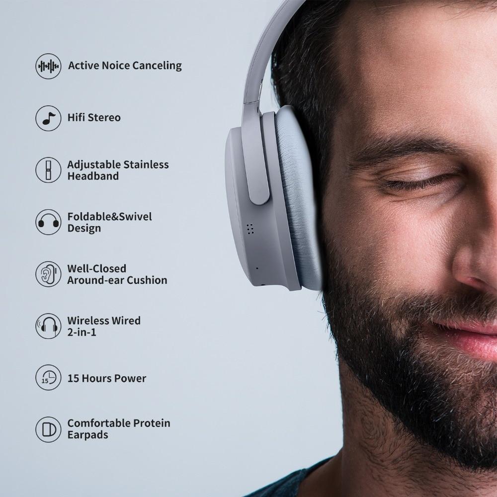 Auriculares con cancelación de ruido activa auriculares inalámbricos Bluetooth con caja para auriculares con micrófono para teléfonos móviles - 2