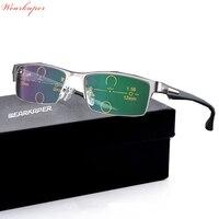 WEARKAPER Progressive Multifocal Glasses Photochromic Reading Glasses Flexible Temples Legs Half Frame Male Presbyopia
